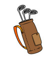 golf clubs bag isolated icon vector image vector image