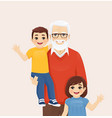 grandfather with grandson and granddaughter vector image