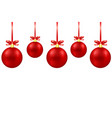 greeting card with red christmas decor balls with vector image vector image