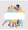 group women with blank white banner girl power vector image