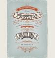 grunge festival invitation poster vector image vector image