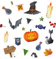 halloween elements seamless watercolor pattern vector image vector image