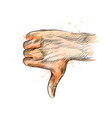 hand gesture thumbs down hand vector image