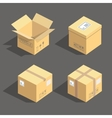 isometric cardboard boxes packaging icons vector image vector image