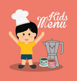 kids menu boy chocolate vector image