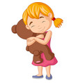 little girl hugging teddy bear vector image