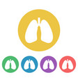 lungs set colored round icons vector image