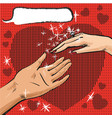 man and woman hand with ring pop art comics vector image vector image