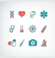 medical treatment colorful paper icons set vector image