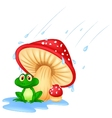 Mushroom with a toad cartoon vector image vector image