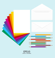 note paper full color with pencil and letter vector image vector image