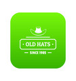 old hat icon green vector image vector image