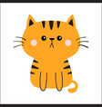 orange red cat sad head face silhouette cute vector image