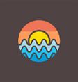 radio wave sunset logo design vector image vector image