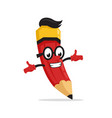 red funny pencil mascot character vector image vector image