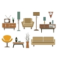Retro flat furniture and interior icons vector image vector image