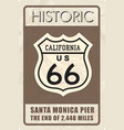 retro route 66 sign historic roud background vector image