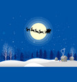 santa claus silhouette moonlight vector image vector image