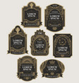 set black and gold ornate labels vector image