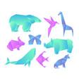 set geometric paper animals vector image