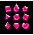 Set of cartoon pink different shapes crystals vector image vector image