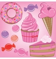 Set of sweets in pink color vector image vector image