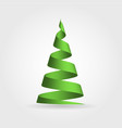 simple green ribbon in a shape of christmas tree vector image vector image