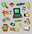 social network technology stickers badges vector image vector image