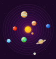 solar system cartoon sun and planets on starry vector image