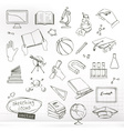 Studying and education sketches of icons set vector image