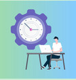 time management programmer at laptop and clock vector image