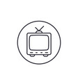 tv with antenna old television linear icon vector image vector image