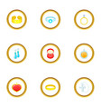 women jewelry icons set cartoon style vector image