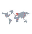 world map with geolocation markers vector image