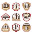 colorful vintage beer emblems set vector image