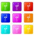 flamingo icons 9 set vector image