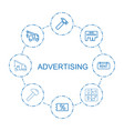 8 advertising icons vector image vector image