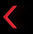 abstract red arrow direction on black vector image vector image