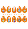 big set easter bunnies vector image