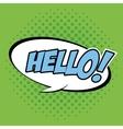 Bubble pop art of hello design vector image vector image
