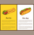 burrito and hot dog posters vector image vector image