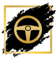 car driver sign golden icon at black spot vector image