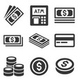 cash money icons set dollars and coins vector image