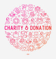 charity and donation concept in circle vector image vector image
