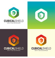 cubical shield logo and icon vector image vector image