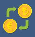Currency exchange Euro and Turkish Lira vector image vector image