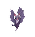 cute purple bat funny creature cartoon character vector image vector image
