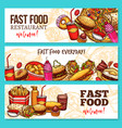 fast food restaurant sketch banner set design vector image vector image