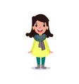 female character in yellow coat green pants vector image