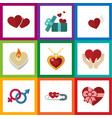 flat icon passion set of present save love gift vector image vector image